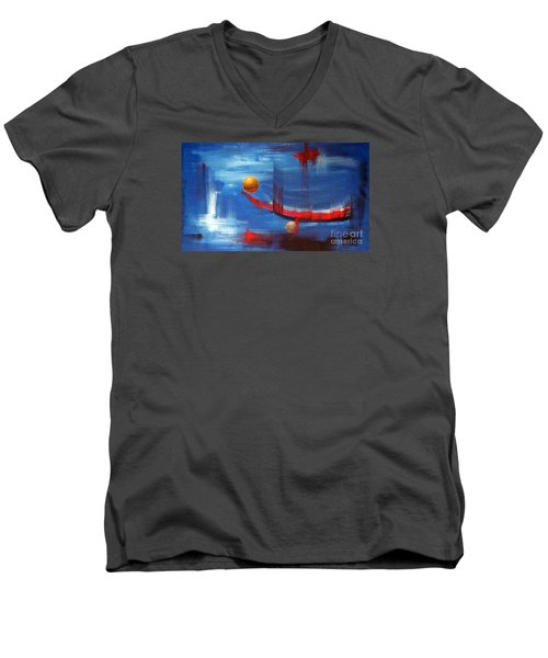 Men's V-Neck T-Shirt featuring the painting Dream Ship by Arturas Slapsys