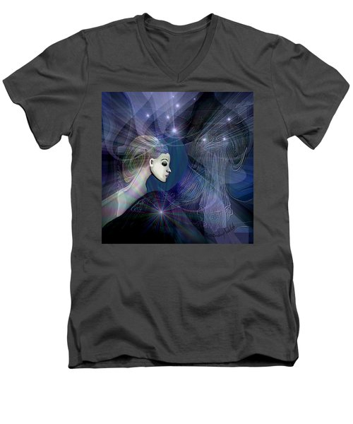 Men's V-Neck T-Shirt featuring the digital art 1101 - Dream Voyage - 2017 by Irmgard Schoendorf Welch