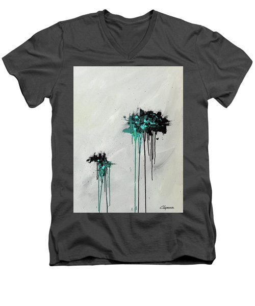 Men's V-Neck T-Shirt featuring the painting Dreamers by Carmen Guedez
