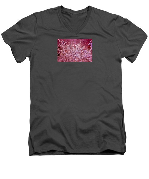 Men's V-Neck T-Shirt featuring the photograph Dreaming In Red - Winter Wonderland by Susanne Van Hulst