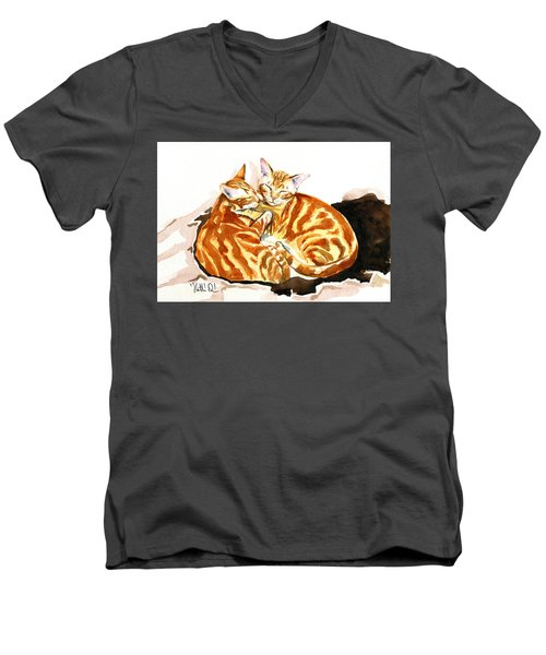 Dreaming Of Ginger - Orange Tabby Cat Painting Men's V-Neck T-Shirt
