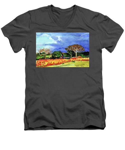 Men's V-Neck T-Shirt featuring the painting Dreaming Of Malawi by Dora Hathazi Mendes