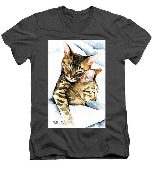 Dreamland - Bengal And Savannah Cat Painting Men's V-Neck T-Shirt
