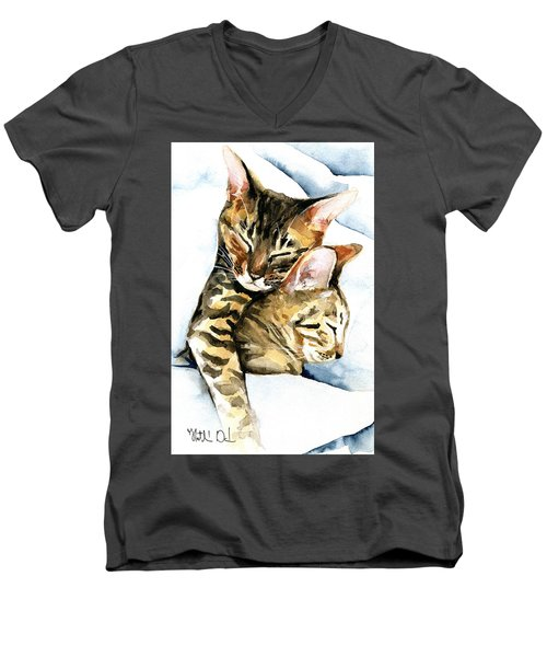 Dreamland - Bengal And Savannah Cat Painting Men's V-Neck T-Shirt