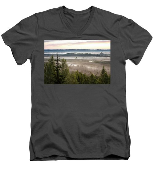 Dreamlike Landscape Men's V-Neck T-Shirt by Teemu Tretjakov