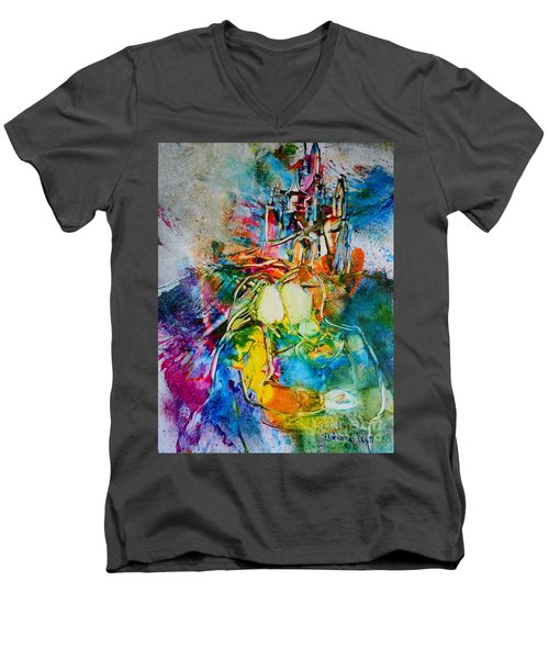 Men's V-Neck T-Shirt featuring the painting Dreams Do Come True by Deborah Nell