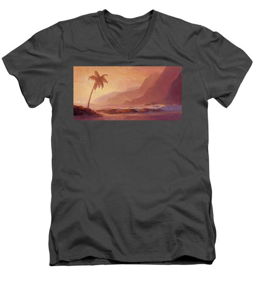 Men's V-Neck T-Shirt featuring the painting Dreams Of Hawaii - Tropical Beach Sunset Paradise Landscape Painting by Karen Whitworth