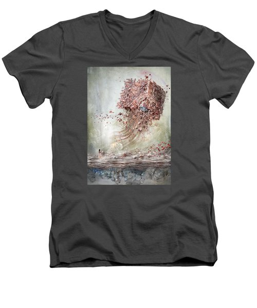 Dreamscape Flow No.1 Men's V-Neck T-Shirt by Te Hu