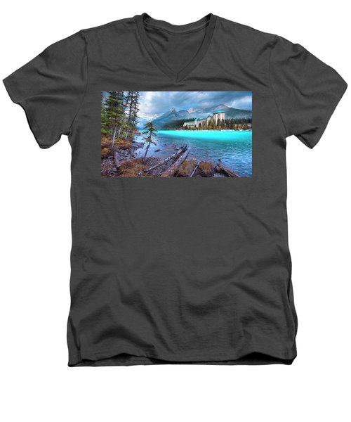 Men's V-Neck T-Shirt featuring the photograph Dreamy Chateau Lake Louise by John Poon
