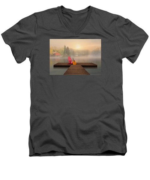 Dreamy Country Lake Men's V-Neck T-Shirt by Nina Bradica