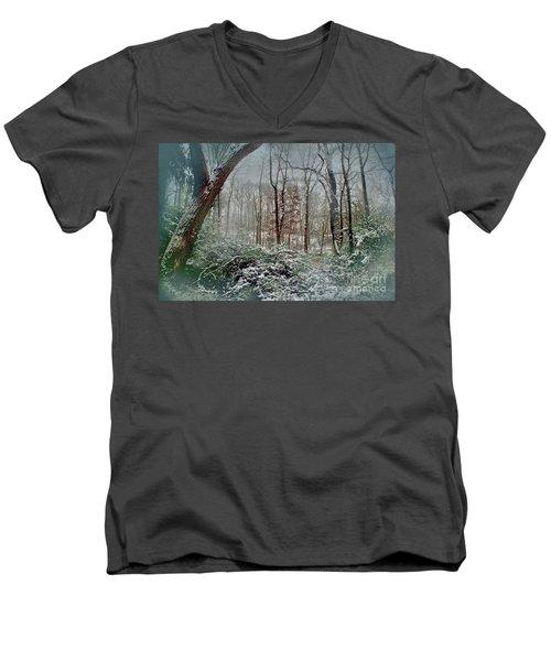 Dreamy Snow Men's V-Neck T-Shirt by Sandy Moulder