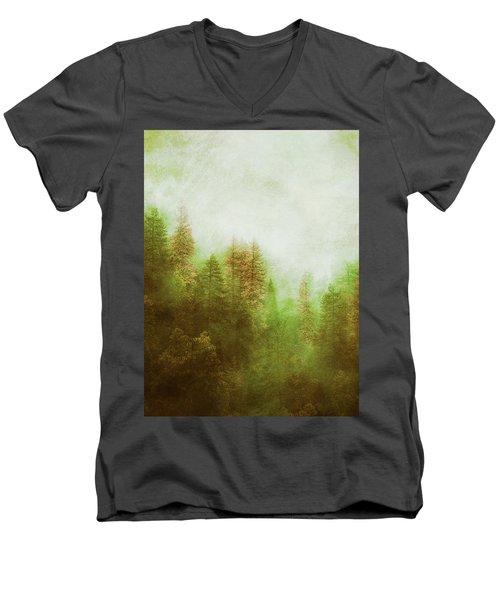 Men's V-Neck T-Shirt featuring the digital art Dreamy Summer Forest by Klara Acel