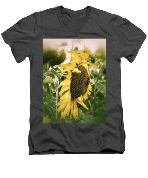 Men's V-Neck T-Shirt featuring the photograph Dreamy Sunflower by Karen Stahlros