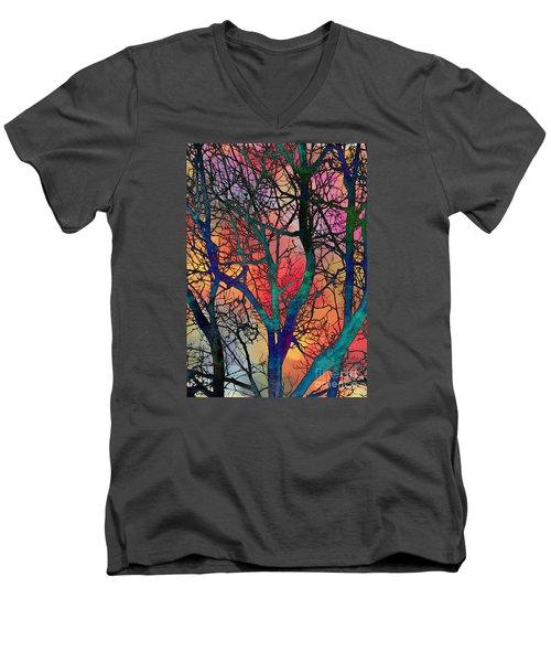 Men's V-Neck T-Shirt featuring the digital art Dreamy Sunset by Klara Acel