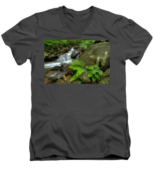Men's V-Neck T-Shirt featuring the photograph Dreamy Waterfall Cascades by Debra and Dave Vanderlaan