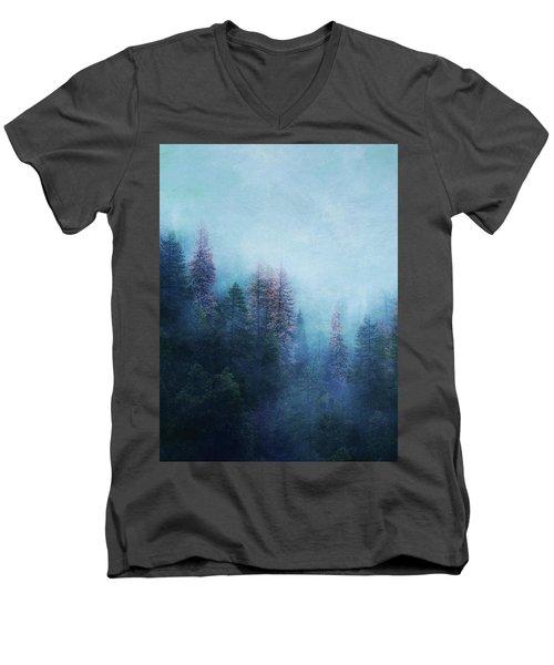 Men's V-Neck T-Shirt featuring the digital art Dreamy Winter Forest by Klara Acel