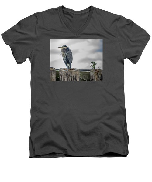 Men's V-Neck T-Shirt featuring the photograph Dreay Day At The Ocean by Jerry Cahill