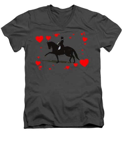Dressage With Hearts Men's V-Neck T-Shirt by Patricia Barmatz