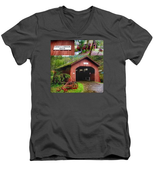 Drift Creek Covered Bridge Men's V-Neck T-Shirt