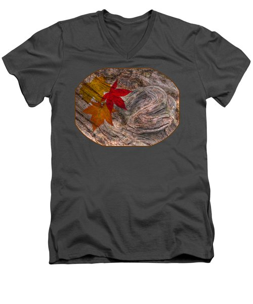 Drifting Autumn Leaves Men's V-Neck T-Shirt