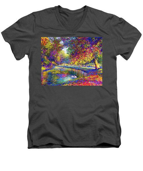 Men's V-Neck T-Shirt featuring the painting Drifting Beauties, Swans, Colorful Modern Impressionism by Jane Small