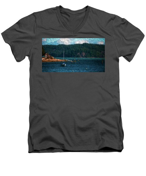 Men's V-Neck T-Shirt featuring the digital art Drifting by Timothy Hack