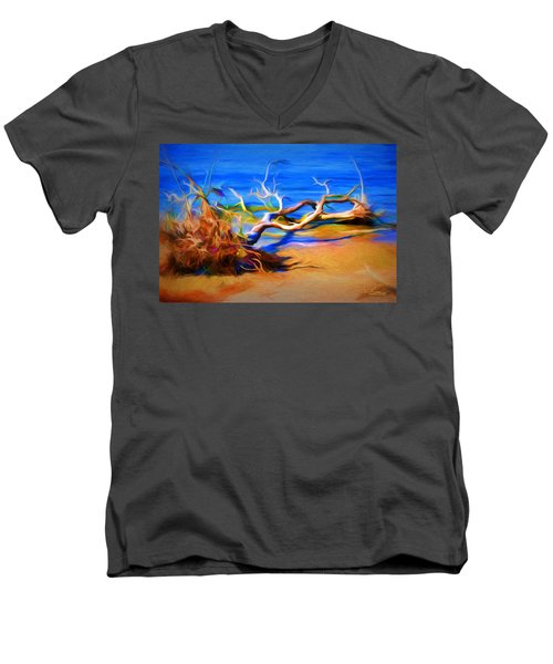 Men's V-Neck T-Shirt featuring the photograph Driftwood by Ludwig Keck