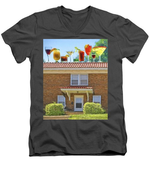 Drinks On The House Men's V-Neck T-Shirt by Nikolyn McDonald