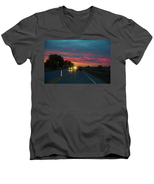 Driving Dusk Men's V-Neck T-Shirt