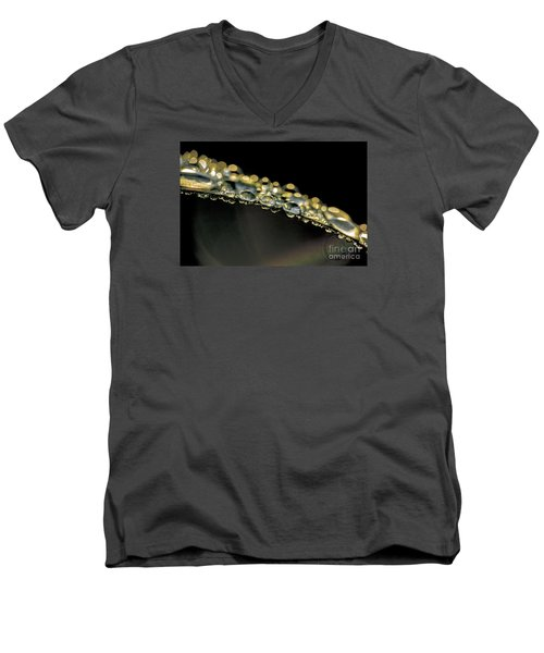 Drops On The Green Grass Men's V-Neck T-Shirt by Odon Czintos