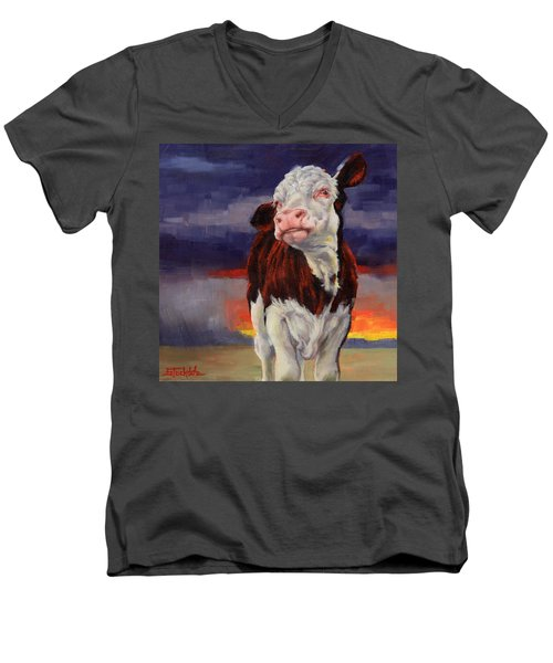 Men's V-Neck T-Shirt featuring the painting Drought Breaker by Margaret Stockdale