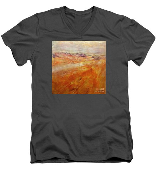 Men's V-Neck T-Shirt featuring the painting Drought by Dragica  Micki Fortuna