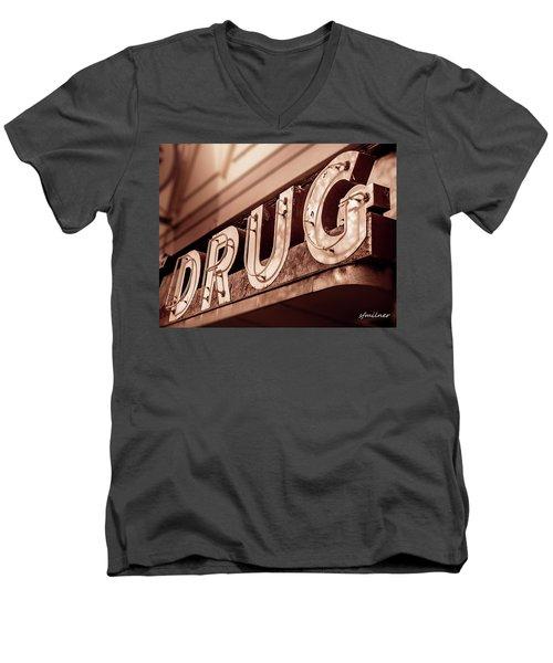 Drug Store Sign - Vintage Downtown Pharmacy Men's V-Neck T-Shirt