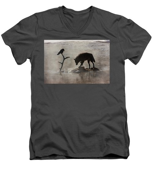 Druid Wolf And Raven Silhouette Men's V-Neck T-Shirt
