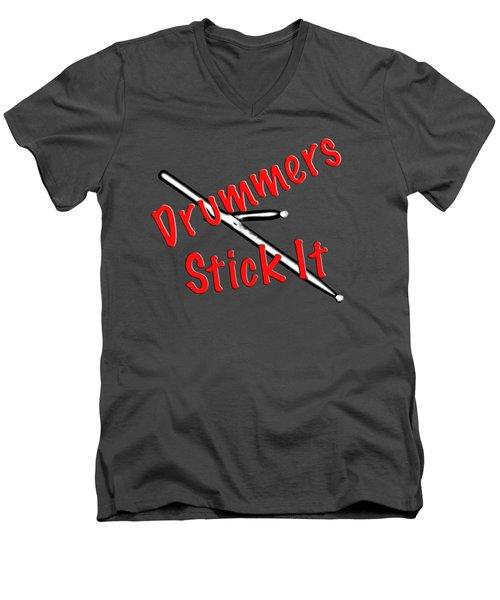 Drummers Stick It Men's V-Neck T-Shirt
