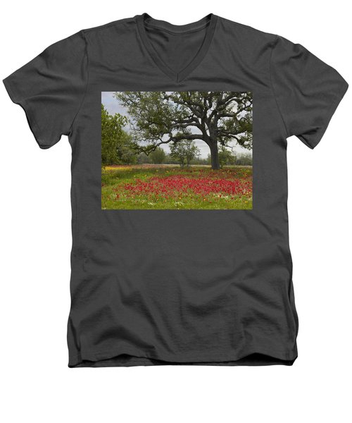 Drummonds Phlox Meadow Near Leming Texas Men's V-Neck T-Shirt