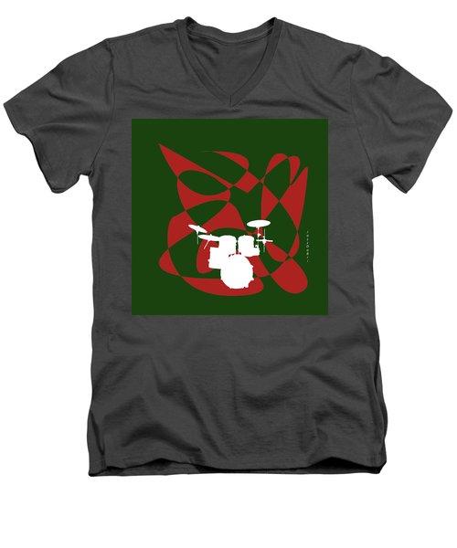 Drums In Green Strife Men's V-Neck T-Shirt by David Bridburg