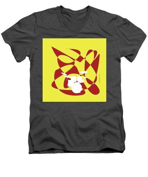 Drums In Yellow Strife Men's V-Neck T-Shirt by David Bridburg