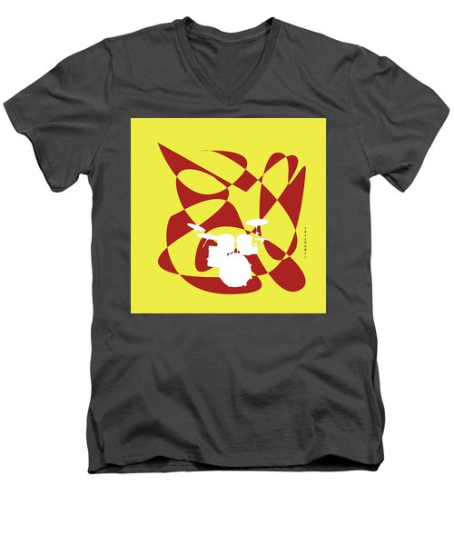 Drums In Yellow Strife Men's V-Neck T-Shirt
