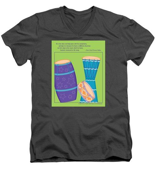 Drums - Thoreau Quote Men's V-Neck T-Shirt
