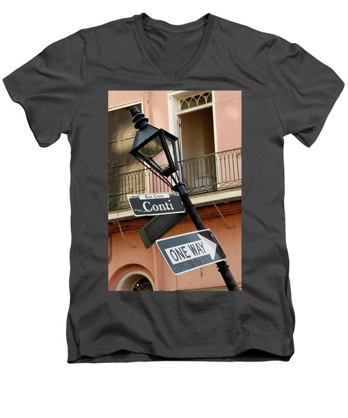 Drunk Street Sign French Quarter Men's V-Neck T-Shirt