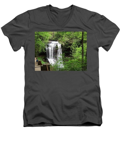 Dry Falls In The Spring Men's V-Neck T-Shirt by Cathy Harper