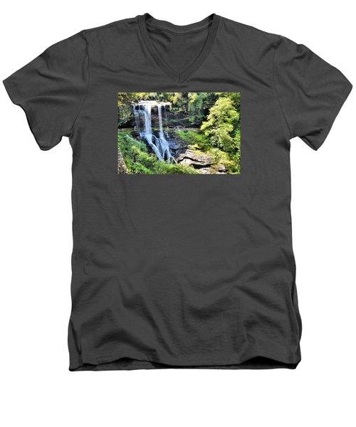 Dry Falls Of Appalachia Men's V-Neck T-Shirt by James Potts