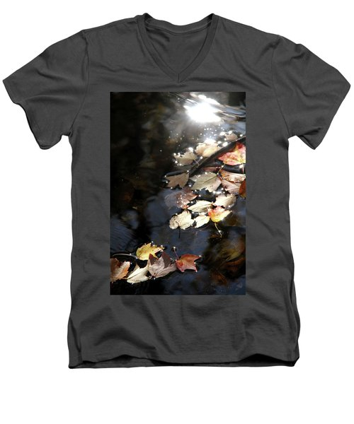 Dry Leaves Floating On The Surface Of A Stream Men's V-Neck T-Shirt by Emanuel Tanjala