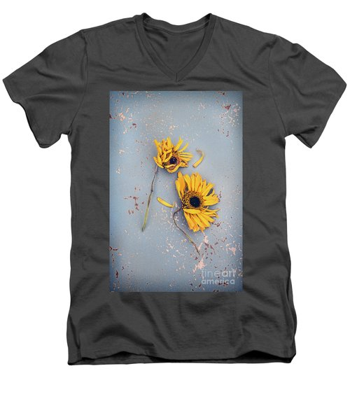 Men's V-Neck T-Shirt featuring the photograph Dry Sunflowers On Blue by Jill Battaglia