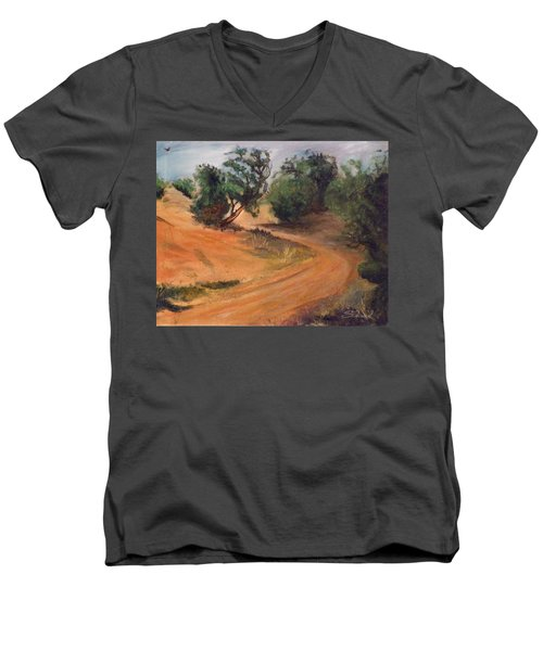 Men's V-Neck T-Shirt featuring the painting Dry Wash Road by Sherril Porter