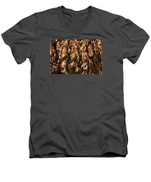 Drying Fish Heads - Iceland Men's V-Neck T-Shirt