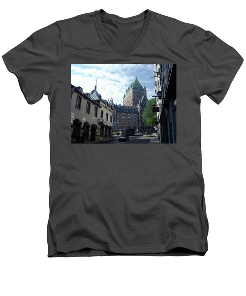 Men's V-Neck T-Shirt featuring the photograph du Fort Chateau Frontenac by John Schneider