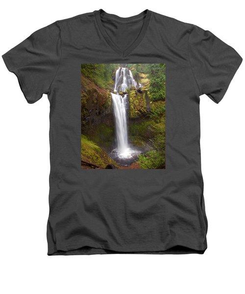 Dual Cascade Men's V-Neck T-Shirt by Todd Kreuter
