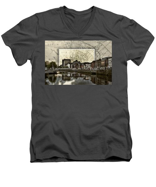 Dublin Skyline Mapped Men's V-Neck T-Shirt
